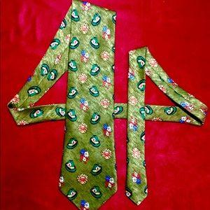 Vintage Green Polyester German Hat Necktie